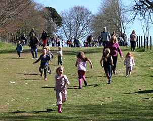 Finish of the Under 5's Egg Roll Race